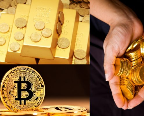 Gold bars and cryptocurrency showing the concept of wealth through expertise in SEO to rank websites.